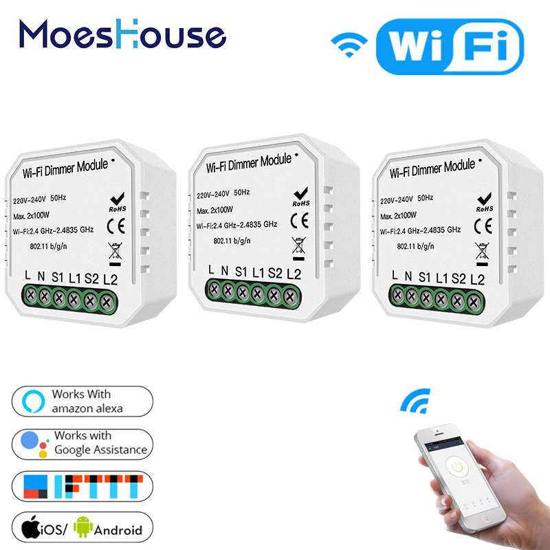 DIY WiFi Smart 2 Way 2 Gang Light LED Dimmer Module Switch Smart Life/Tuya APP Remote Control Work With Alexa Google Home