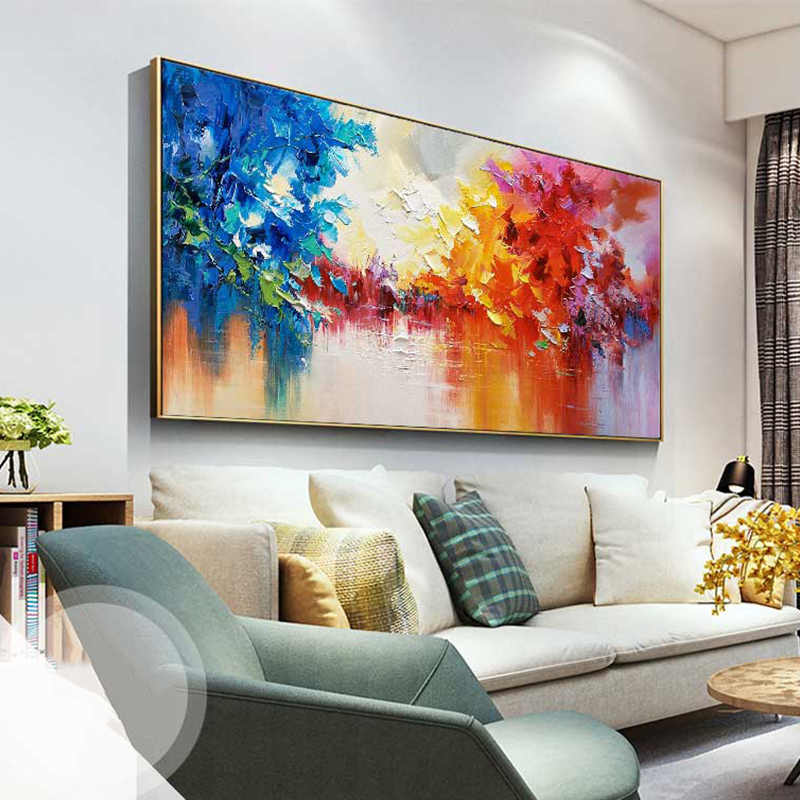 100% Corak Modern Abstrak Cat Minyak Di Atas Kanvas Seni Minyak Lukisan Hadiah Dekorasi Rumah Ruang Tamu Dinding Gambar Perhiasan Bebas Ongkos Kirim