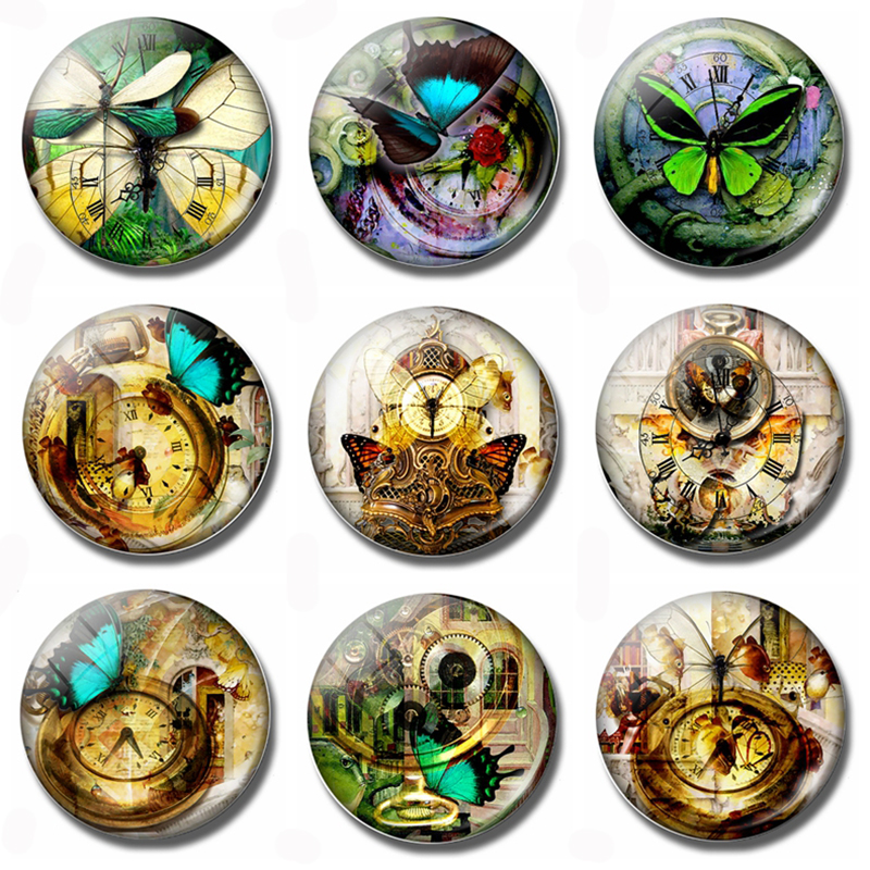 Часы со стрекозой 30 мм магнит на холодильник стимпанк бабочка часы стеклянный купол магнитный холодильник наклейки Примечание держатель домашний декор