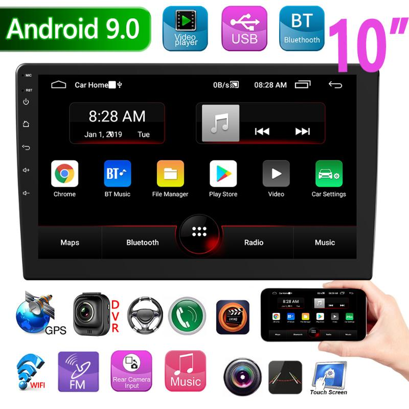 P9 Double DIN Android 9.0 Car Stereo GPS Navigation Bluetooth WiFi FM Radio 10 Inch IPS Screen In Dash Head Unit Receiver