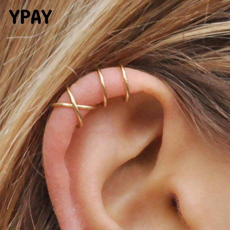 YPAY 100% Solid 925 Sterling Silver Ear Cuff Clip On Earrings For Women Girl Without Piercing Twist Earing Fine Jewelry YME580
