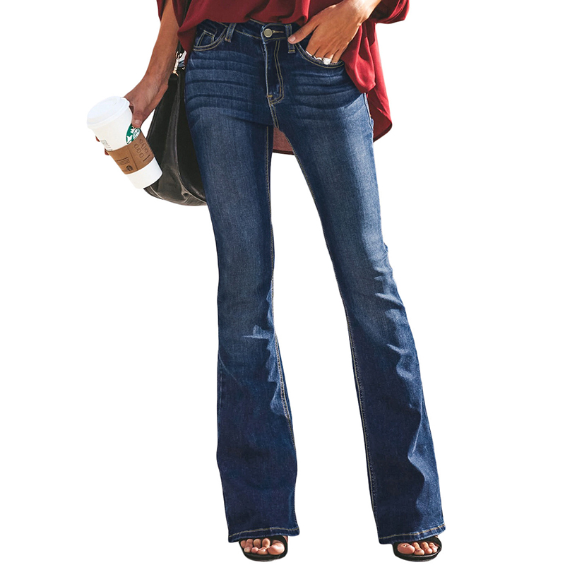 Women Bootcut Jeans Slim Fit Denim Pants Bell Bottom Straight High Waist Bootleg Jeans Stretch Female Flare Trouser Maxi Fashion