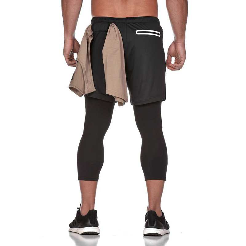 2 IN 1 Joggers Men Gym Compression Pants Men Quick Dry Fitness Leggings Men Tights Sweatpants Summer Jogging Leggings Gymwear