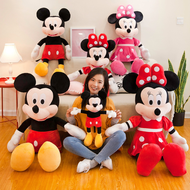 Big Doll Mickey Minnie Mouse Goofy Pluto Donald Duck Minnie Mickey Plush Stuffed Pillow Doll Toy For Kid Girls Birthday Gift New