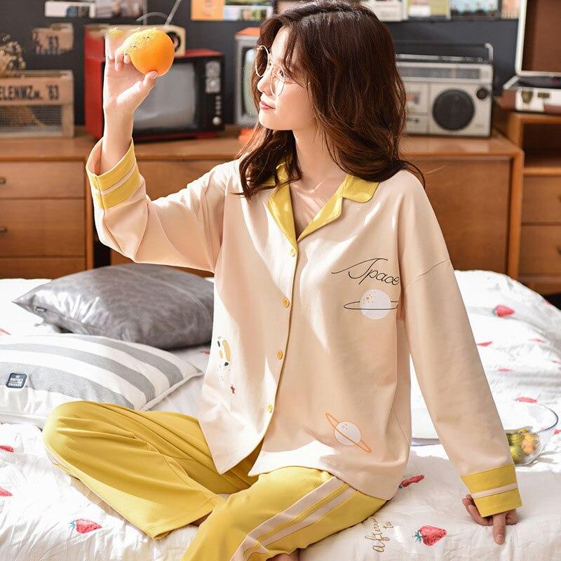 Tonmodi Дамский пижамный комплект весна и осень тонкий японский сладкий мультфильм печати с длинным рукавом милый Кукла Пижама с воротником Повседневная - Цвет: 6938
