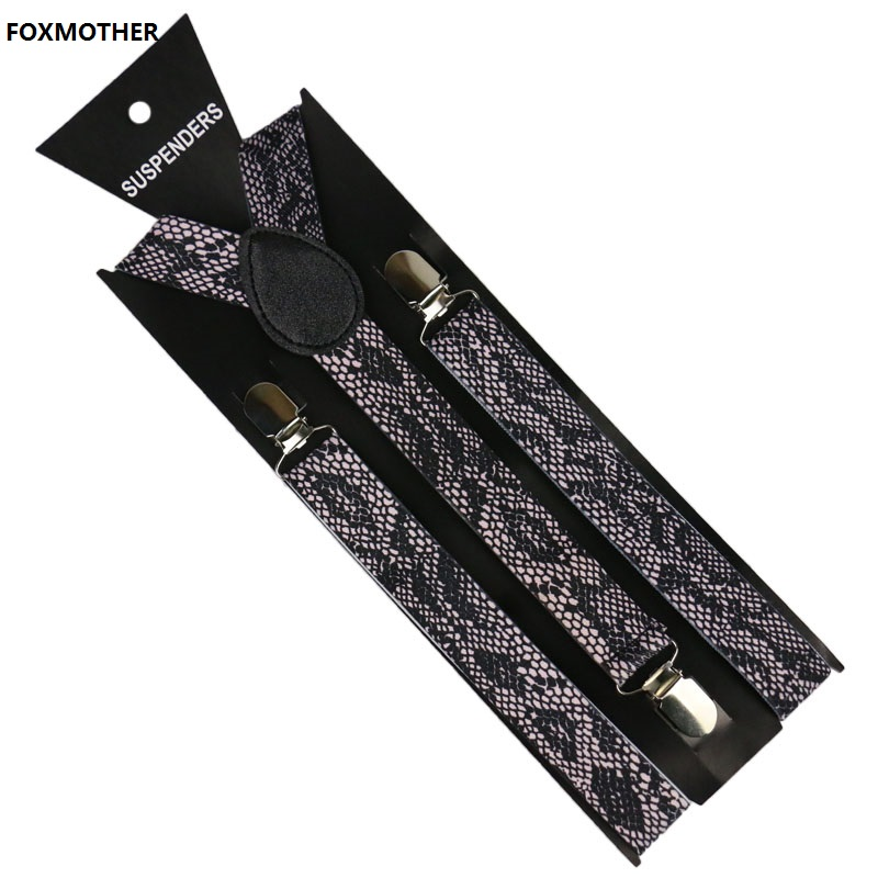 FOXMOTHER Mens Trouser Suspenders Male Women 2.5cm Wide Snake Zebra Print Braces Elastic Suspenders