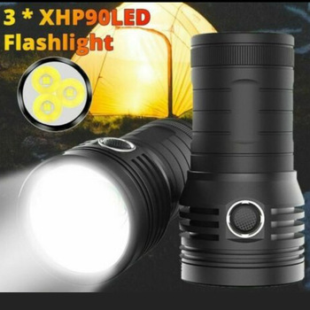 Ultra Bright 3*XHP90 LED Searchlight Flashlight  10400mAH 18650 USB Rechargeable Hunting Torch Light Outdoor Camping Spotlight yupard 100w 50w flood light searchlight spotlight brightness led flashlight outdoor camping 18650 rechargeable battery charger
