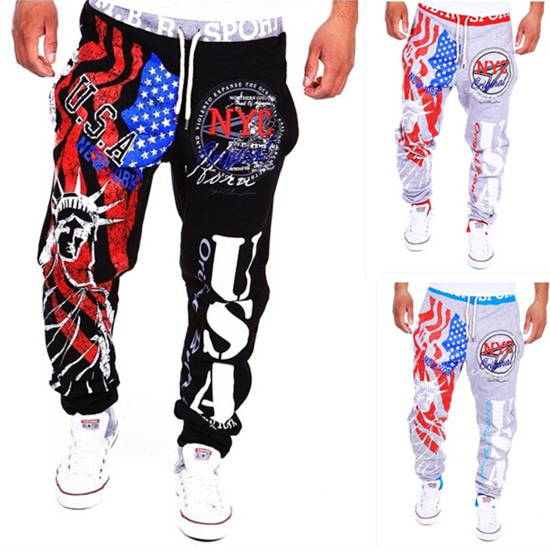 Foreign Trade Men's Lace Up Sports Casual Letter Printing Pants