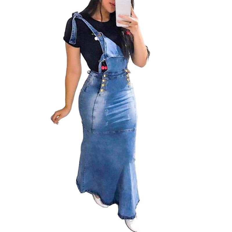 New 2020 Suspender Skirt Women Overalls No Stretchy Maxi Long Skirt Mermaid Trumpet Empire High Waist Jeans J9D793