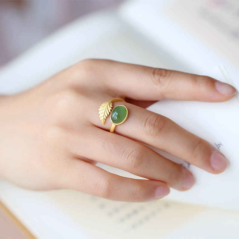 (Hetian) нефрита, Нефритового зеленого цвета нефрита овальное кольцо яйцо поверхность, актриса сериала «Потомки богатый S925 стерлингового серебра Открыть Регулируемый темперамент Ri