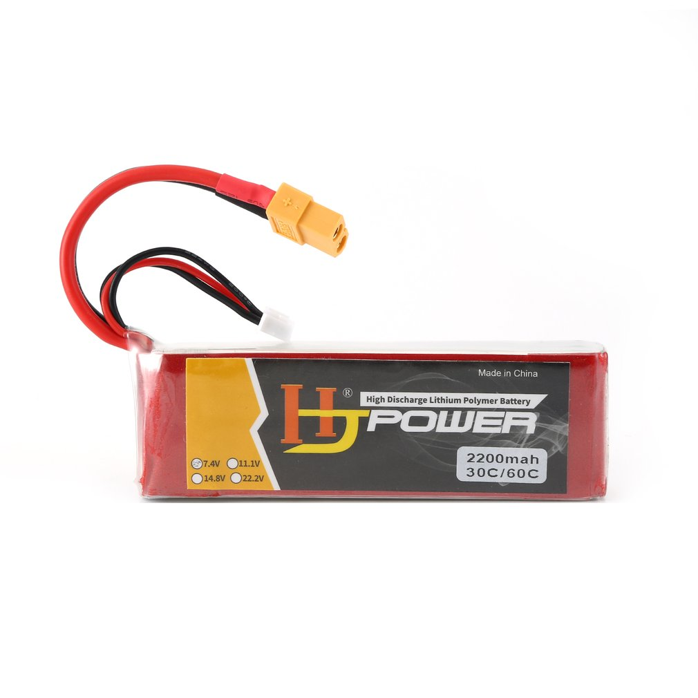 HJ <font><b>7.4V</b></font> <font><b>2200MAH</b></font> 70C 2S Lipo <font><b>Battery</b></font> XT60 Plug Rechargeable for RC Racing Drone Helicopter Car Boat Model image