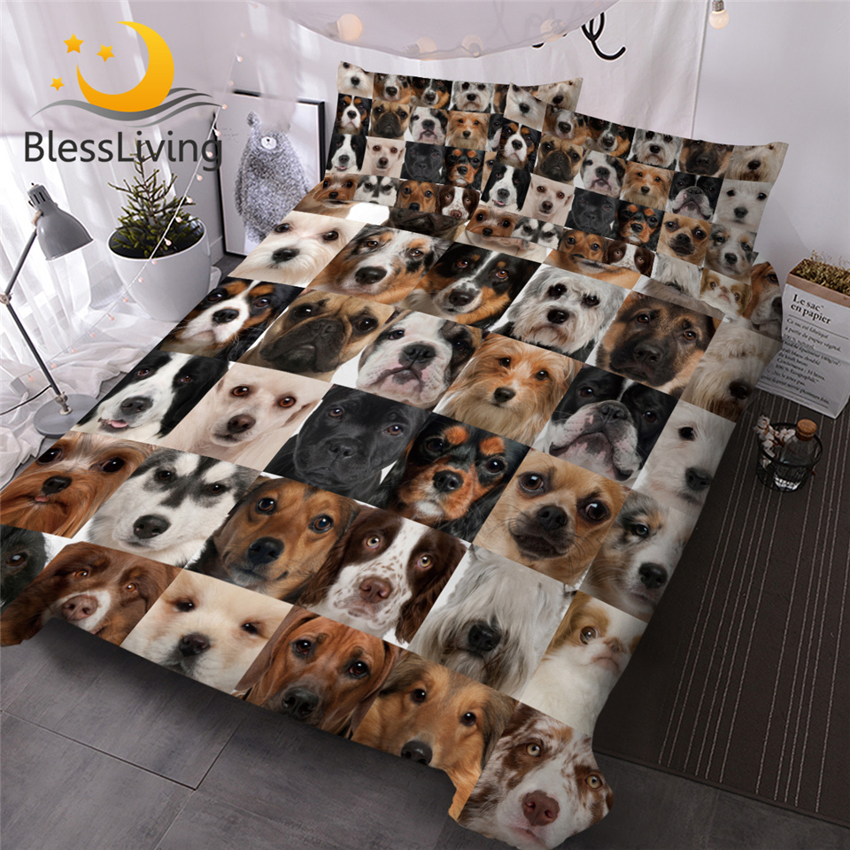 BlessLiving Puppy Dogs Comforter Cover Grids 3D Queen Bedding Set Collage Of Dog Bed Cover Cartoon Kids Bed Set 3-Piece Edredom