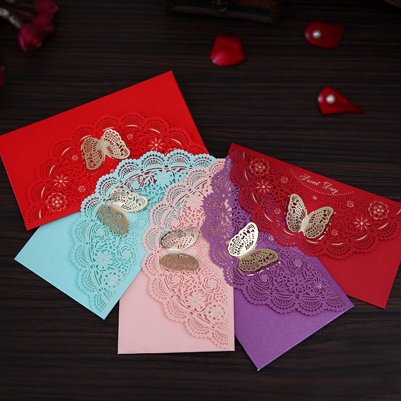 Marriage Supplies 1000 Yuan Red Envelope Creative Hollow Out Butterfly Marriage Red Packet Top Grade Hard Red Envelope Wedding C