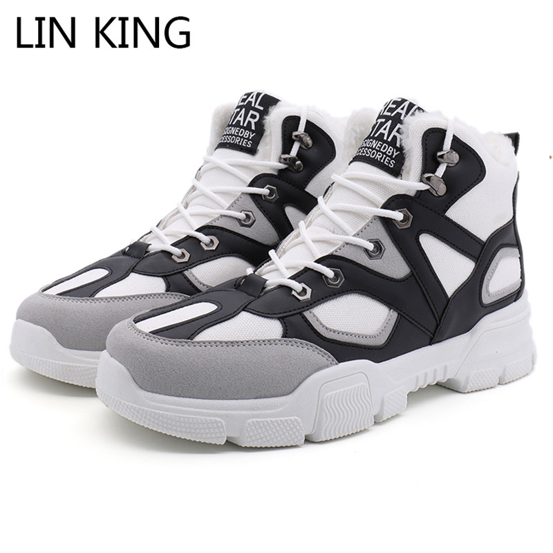 LIN KING Plus Size Men's Winter Ankle Boots Sneakers Warm Keep Lace Up Snow Boots For Male Adult Warm Short Plush Short Shoes