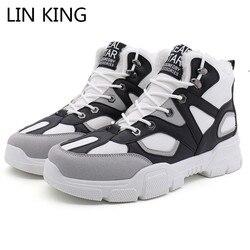 Lin king botas de tornozelo de inverno dos homens tamanho grande tênis quente manter laço acima botas de neve para o sexo masculino adulto quente curto pelúcia sapatos