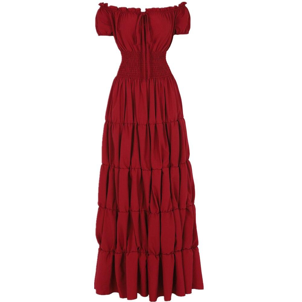 Женское платье в стиле ренессанс, Ирландское сексуальное платье с открытыми плечами, костюм в стиле Викторианского Средневековья, пиратское ретро платье, длинное платье макси с присборенной талией        АлиЭкспресс
