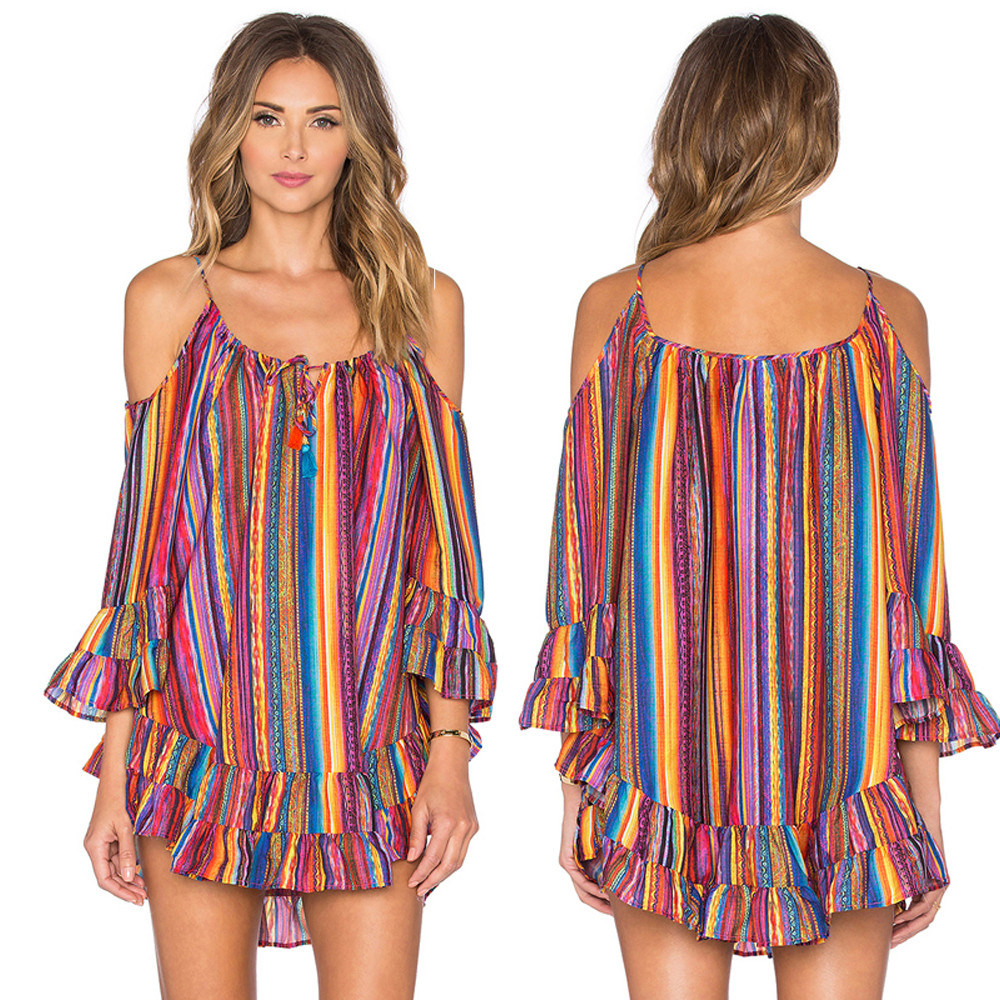 vestido de mujer Women's Summer Rainbow Print Fringed Beach Dress Loose Chiffon Strap Dress femme robe платье 2021
