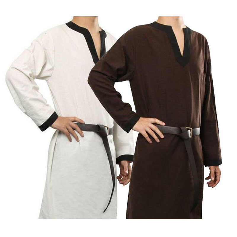 Medieval Larp Viking Costume Tunic Long Shirt Mens Trim Noble Warrior Knight Tops Tabard Nordic Cos Garb Outfit For Adult Belted
