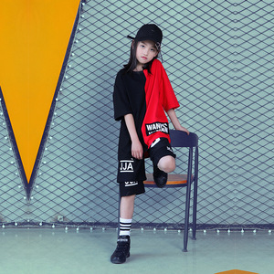 Image 2 - Детская одежда для бальных танцев для девочек и мальчиков; Короткая футболка для выступлений; Штаны для бега; Детский танцевальный костюм в стиле хип хоп