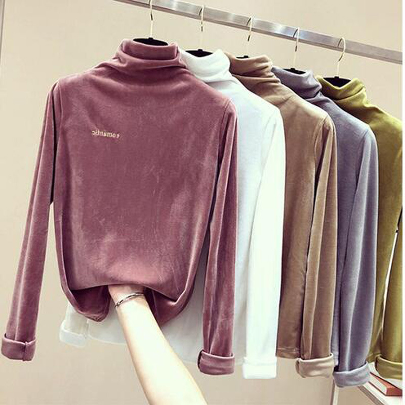 Autumn Long Sleeve Velvet T-shirt Women Tee 2019 Loose Letter Embroidery Tshirts Casual Shirts For Women Top Winter Shirt