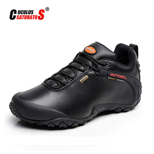 Image 1 - High Quality Unisex Hiking Shoes Autumn Winter genuine leather Outdoor Mens women Sport Trekking Mountain Athletic Shoes 224 5