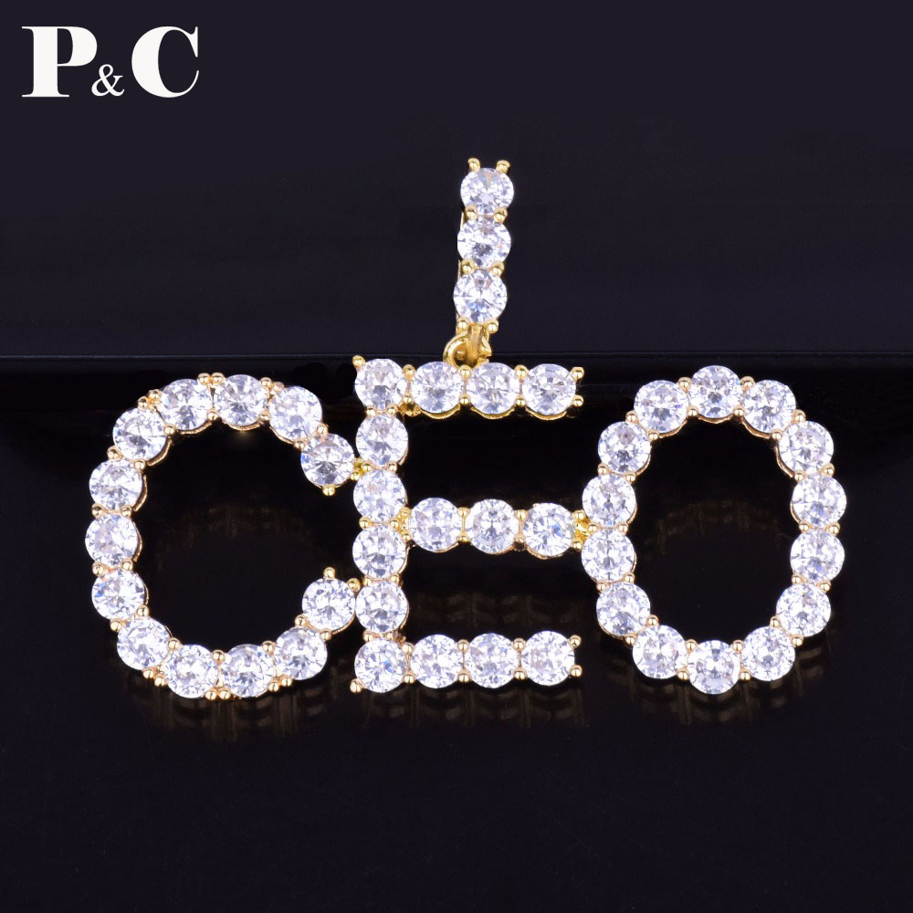 Custom Name Tennis Chain Letters Necklaces & Pendant Hip Hop Iced Cubic Zirconia Jewelry Chain With 4MM Gold Silver Tennis Chain