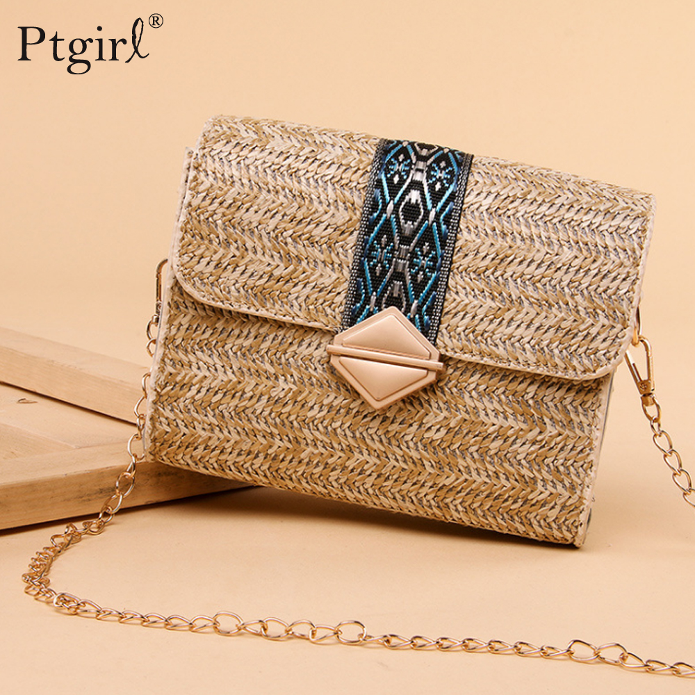 2019 New Square Straw Bags Women Fashion Rattan Messenger Bag Ptgirl Handbag Bolsas Sacos соломенная сумка Clutch Crossbody Bag