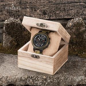 Image 5 - relogio masculino BOBO BIRD Watch Men Green Sandalwood quartz Wristwatch Multifunctional Chronograph Watches Sport For Man Gift