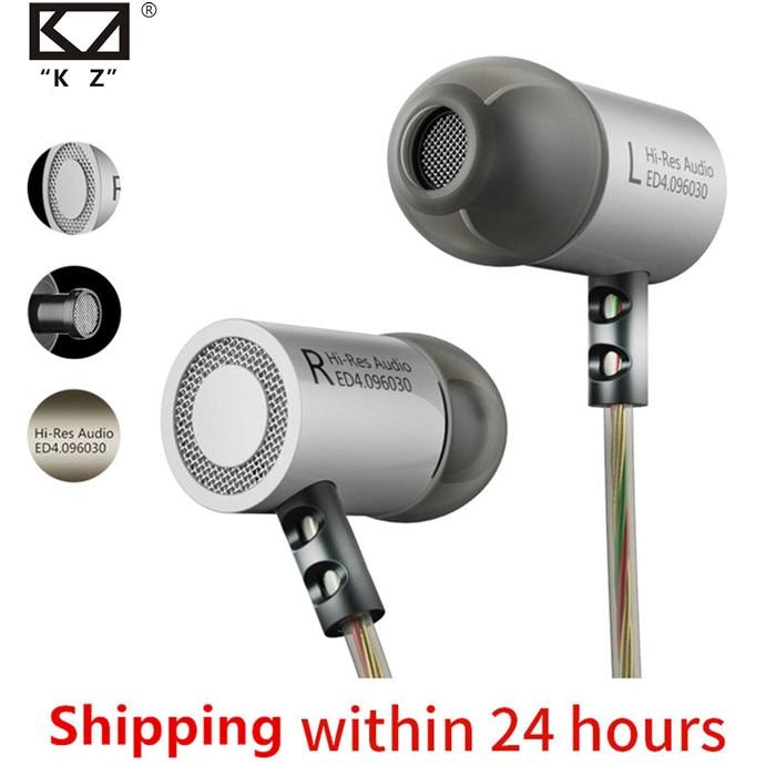 KZ ED4 Headphones Bass Ear HIFI Headset DJ Earphone Metal Stereo Earbuds With Microphone For Mobile Phone MP3 MP4 In Ear Monitor