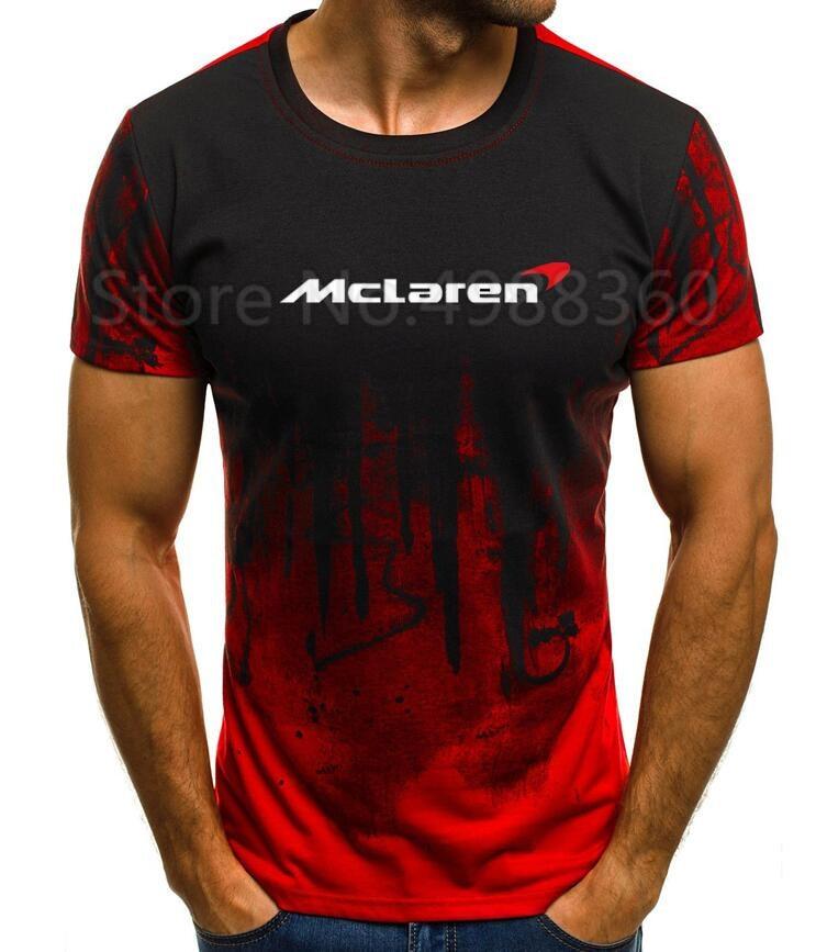 Men 2019 High Quality M-5XL Mclaren T-Shirt MEN T-SHIRT Print T Shirt short Sleeve Casual Tops summer T-shirt