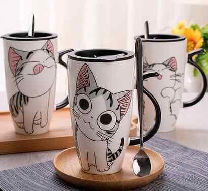 Mèo Gốm Sứ Cà Phê Cốc Sứ Có Nắp Dung Tích Lớn 600 Ml Động Vật Cốc Sáng Tạo Drinkware Cà Phê Trà Ly Mới Lạ Quà Tặng bình Sữa