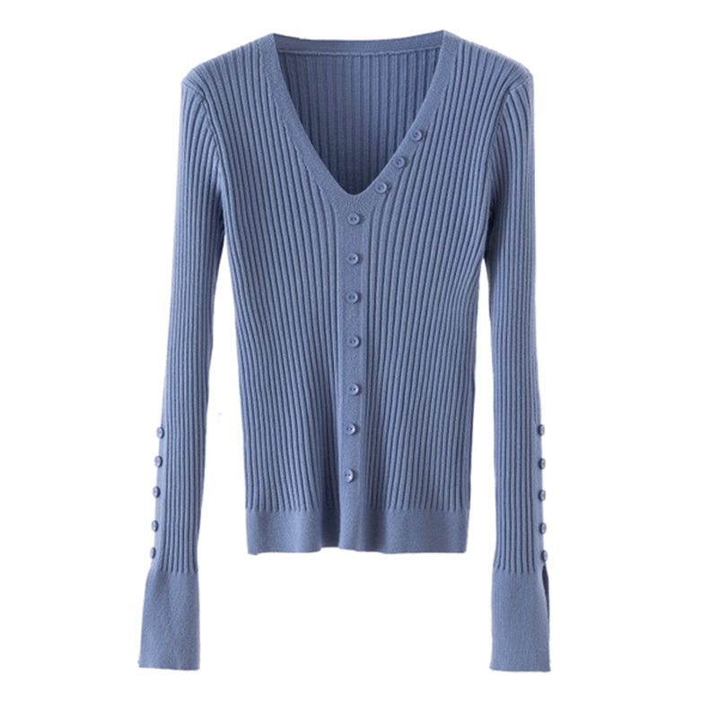 Gkfnmt V-Neck Sweater Jumpers Pullover Winter Tops Soft-Knitted Women New-Fashion Button