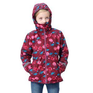 Image 2 - الكرز الأحمر مقاوم للماء موضة مقنعين الصوف معطف الطفل الطفل بنات جاكيتات الأطفال ملابس خارجية الاطفال وتتسابق ل ارتفاع 98 152 سنتيمتر