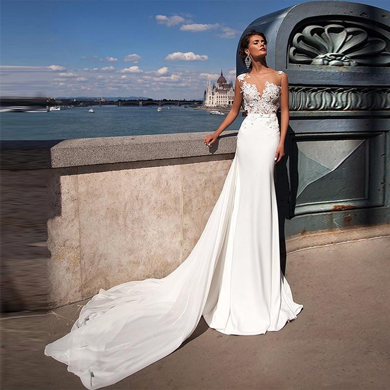 LORIE Wedding Dresses Mermaid  2019 Detachable Train Wedding Gowns Elegant Lace Beach Boho Bridal Dress Vestido De Noiva Plus