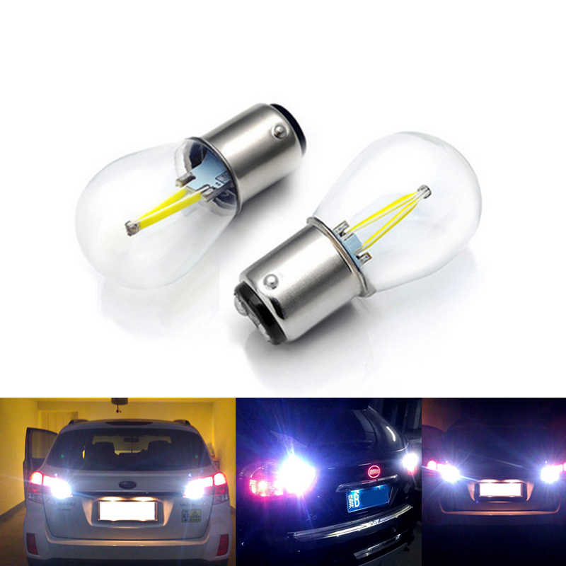 1156 1157 COB 12v LED filament light bulbs 2W 4W Turn Signal Tail Parking Reverse Lamp white red yellow blue warm white