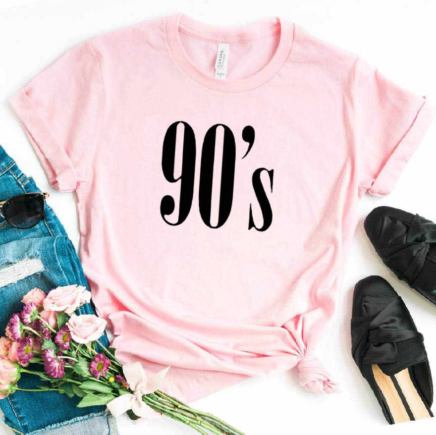 90's ตัวอักษรผู้หญิง T เสื้อฝ้ายเสื้อ Casual ตลกเสื้อสำหรับเลดี้ TOP TEE Hipster Tumblr 6 สีวางเรือ CB-6