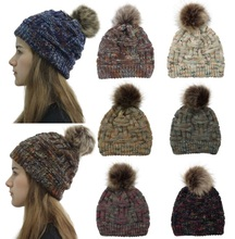 2019 Winter Brand Female Fur Pom Poms hat Hat For Women Girl s Knitted Beanies Cap Thick Skullies