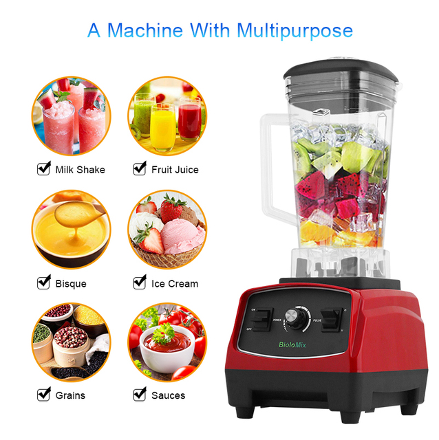 BPA Free 3HP 2200W Heavy Duty Commercial Grade Blender Mixer Juicer High Power Food Processor Ice Smoothie Bar Fruit Blender 1