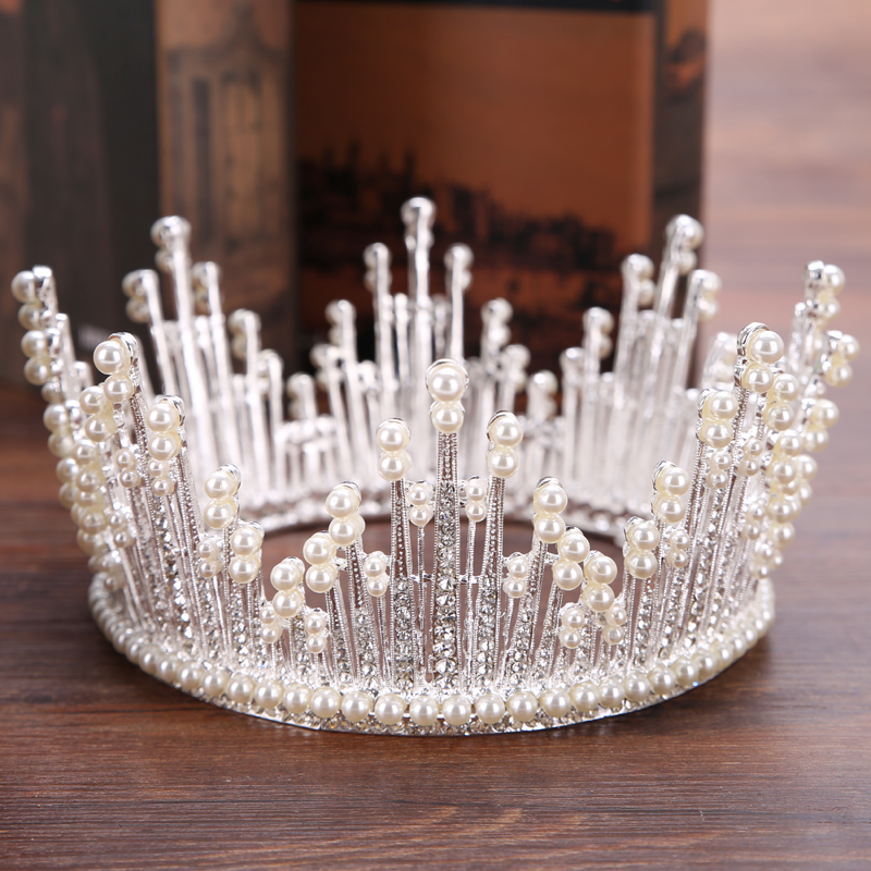Cor de prata casamento coroa cristal strass pérola coroa nupcial headdress rei coroa casamento bola acessórios para o cabelo jóias