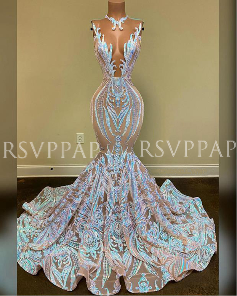 New Arrival Long Prom Dress 2020 Sparkly Glitter Sequin Sexy See Through Top African Girl Mermaid Prom Dresses 2020