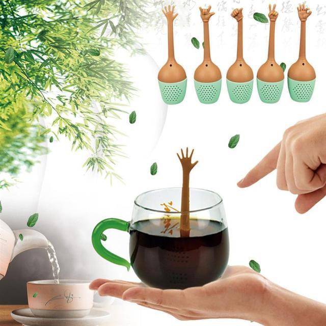 Infuseur à thé en Silicone 5 pièces, avec gestes à la main amusants, passoire à thé noir, feuilles amples, support pour épices et herbes, accessoire pour brassage de thé