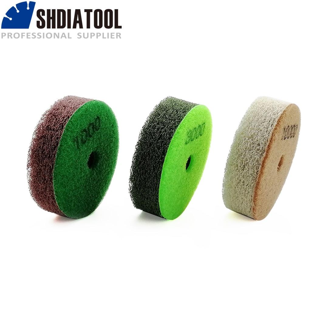 SHDIATOOL 3pcs/Set 80mm Sponge Diamond Polishing Pads Dia 3 Inch Sanding Disc For Softer Stones Marble Sandstone Polishing