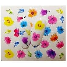 Flower Designs Nail Sticker Set Decal Water Transfer Slider For Nails Art Decor B01 lcj 28 designs nail sticker set black dreamcather feather decal water transfer slider for nails art decor