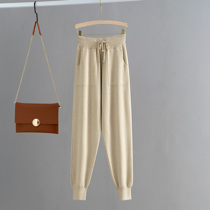 H1191e328440a4ba68f5fc9f38bd0193eu - GIGOGOU Knitted High Waist Women Crop Harem Trousers Solid Peg Leg Fly Pants Casual Drawstring Winter Warm Workwear Carrot Pants