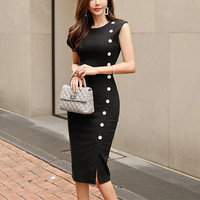 Female Brief Style Summer Long Midi Party Dress Women Black Buttons Slim Pencil Dress Out Going Bodycon Formal Sexy Dress