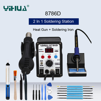 YIHUA 8786D Soldering Station SMD Hot Air Gun Soldering Iron BGA Rework Station With Sleep Function And Automatic Working Mode