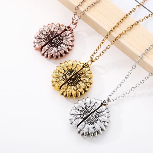 Sunflower Necklaces For Women Stainless Steel Open Locket You are My Sunshine Sunflower Necklace Birthday Gift Boho Jewelry BFF 5