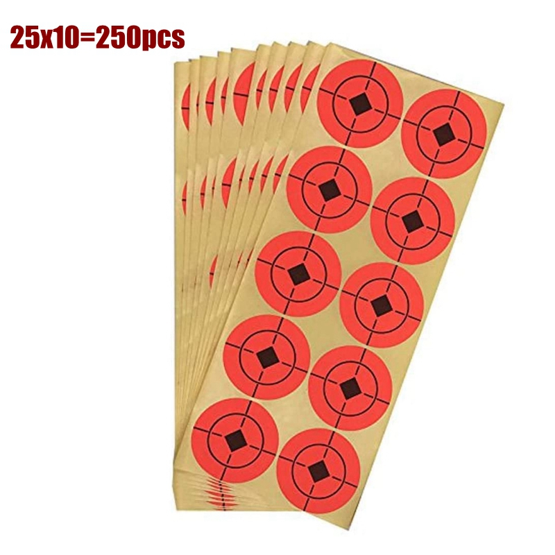 250pcs(25 Sheet) 1.5inch Target Pasters Paper Stickers For Air Rifle Gun Shooting Orange