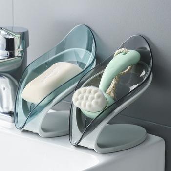Kreatywna przezroczysta mydelniczka w kształcie liścia mydelniczka łazienka z darmowym przepychaczem tanie i dobre opinie CN (pochodzenie) Z tworzywa sztucznego