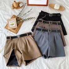 2021 High Waist Thin A-line Shorts Female Wide Legged Korean Casual New Short Pants Women's Harajuku Trousers with Belt